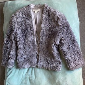 Boston Proper Gray Rosette Jacket Bolero style